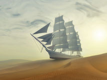 Varend schip in woestijn