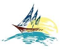 Varend schipembleem in het overzees stock illustratie