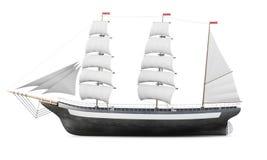 Varend schipmodel op een witte achtergrond het 3d teruggeven Royalty-vrije Stock Fotografie