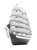 Varend schipmodel op een witte achtergrond het 3d teruggeven Royalty-vrije Stock Foto
