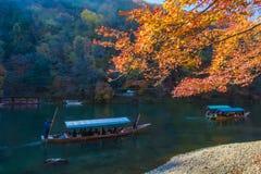 Varende boot in Arashiyama Kyoto, Japan Royalty-vrije Stock Foto's