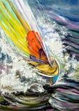 Varende boot die op golven meesleept Stock Foto