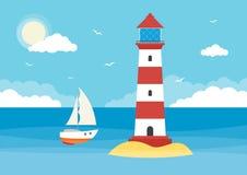 Varende boot en vuurtoren stock illustratie