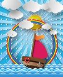 Varende boot en wolk met regen Royalty-vrije Stock Afbeelding