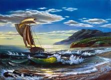 Varende boot in het overzees Stock Afbeeldingen