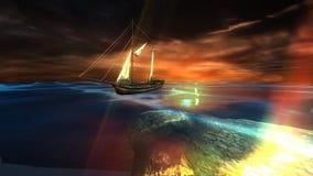 Varende boot op donkere overzees met bezinningen vector illustratie