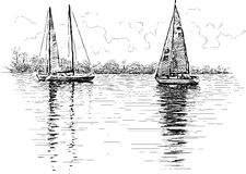 Varende boten royalty-vrije illustratie