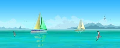 Varende boten en zeemeeuwen die over blauwe oceaan vliegen royalty-vrije illustratie