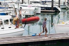 Varende gedokte boten Royalty-vrije Stock Fotografie