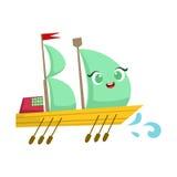 Varende Grote Boot met Peddels, Leuke het Beeldverhaalillustratie van Girly Toy Wooden Ship With Face Royalty-vrije Stock Fotografie