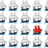 Varende schepen met witte en rode zeilen Stock Fotografie