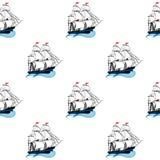 Varende schepen met witte zeilen en rode vlaggen Stock Foto