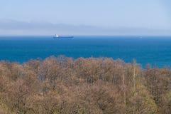 Varende verafgelegen vrachtschip op zee nevel Royalty-vrije Stock Fotografie