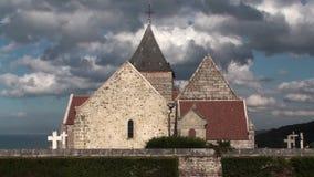 Varengeville-sur-mer. Marine cemetery and the church Saint-Valéry stock video