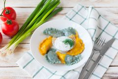 Vareniki a appelé également des boulettes, varenyky Images stock