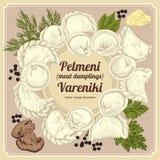 Vareniki Pelmeni Μπουλέττες κρέατος Τρόφιμα Άνηθος, μαϊντανός, μαύρο πιπέρι, φύλλο κόλπων μαγείρεμα εθνικά ραβδιά θαλασσινών κουβ Στοκ Φωτογραφίες
