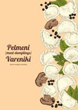 Vareniki. Pelmeni. Meat dumplings. Food. Dill, parsley, black pepper, bay leaf. Cooking. National dishes. Dinner. Products from th Stock Photography