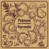 Vareniki. Pelmeni. Meat dumplings. Food. Dill, parsley, black pepper, bay leaf. Cooking. National dishes. Dinner. Products from th Stock Images