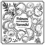 Vareniki. Pelmeni. Meat dumplings. Food. Dill, parsley, black pepper, bay leaf. Cooking. National dishes. Dinner. Products from th Royalty Free Stock Image