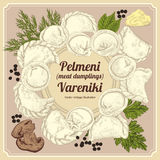 Vareniki. Pelmeni. Meat dumplings. Food. Dill, parsley, black pepper, bay leaf. Cooking. National dishes. Dinner. Products from th Stock Photos