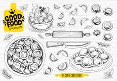 Vareniki Pelmeni Russische pelmeni op een plaat Voedsel cooking Nationale schotels Producten van het deeg en het vlees royalty-vrije illustratie