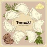 Vareniki Pelmeni Russisches pelmeni auf einer Platte Nahrung Dill, Petersilie, schwarzer Pfeffer, Lorbeerblatt kochen Mahlzeit vo Stockfotos