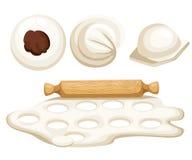 Vareniki Pelmeni Rysk pelmeni på en platta Mat Dill persilja, svartpeppar, lagerblad matlagning bambu besegrar för plattafilten f royaltyfri illustrationer