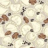 Vareniki Pelmeni Rysk pelmeni på en platta Mat Dill persilja, svartpeppar, lagerblad matlagning bambu besegrar för plattafilten f Royaltyfria Bilder