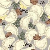 Vareniki Pelmeni Rysk pelmeni på en platta Mat Dill persilja, svartpeppar, lagerblad matlagning bambu besegrar för plattafilten f vektor illustrationer