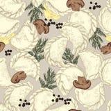 Vareniki Pelmeni Rysk pelmeni på en platta Mat Dill persilja, svartpeppar, lagerblad matlagning bambu besegrar för plattafilten f stock illustrationer