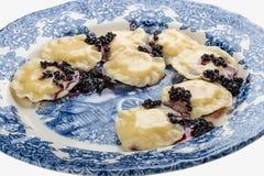 Vareniki z ricotta elderberries na dekoracyjnym talerzu i serem obraz royalty free