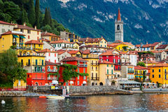 Varenna, Como lake, Italy. View of many color buildings in Varenna, Como lake, Italy Stock Image