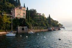 Varenna, Italy. A villa and the shore of Varenna, Italy on Lake Como royalty free stock image