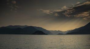 Varenna on lago Como sunset Stock Photos