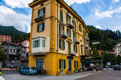 VARENNA ON LAKE COMO, ITALY, JUNE 15, 2014. Hotel building in Varenna on Lake Como, Italy, Lombardy region. Italian city view. Royalty Free Stock Images