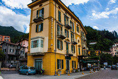 VARENNA ON LAKE COMO, ITALY, JUNE 15, 2014. Hotel building in Varenna on Lake Como, Italy, Lombardy region. Italian city view. Stock Photos
