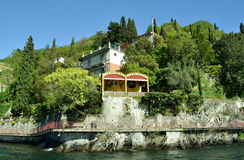 Varenna lakefront, park and promenade at waterfront. Stock Images