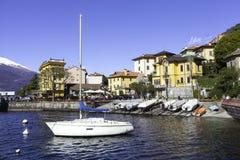 Varenna-Lecco Lake-Marina springtime view. Color image Stock Images