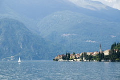 Varenna scenic Lake Como. Scenic view of commune of Varenna on shore of Lake Como, Lombardy region, Italy royalty free stock image