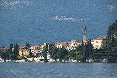 Varenna scenic Lake Como. Scenic view of commune of Varenna viewed on shoreline of Lake Como, , Lecco province, Italy royalty free stock photography