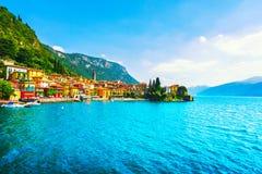 Varenna stad, Como landskap för sjöområde Italien Europa royaltyfri fotografi