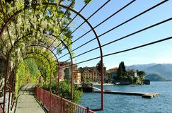 Varenna waterfront promenade and lilac flowers. Royalty Free Stock Images