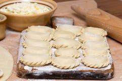 Varenyky fatto a mano ucraino tradizionale (ruskie di pierogi in Pola Fotografia Stock