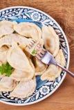 Varenyky, o vareniki, o pierogi, pyrohy ou as bolinhas de massa, enchidas com a carne e a cebola ou os cogumelos, podem ser servi Foto de Stock Royalty Free