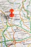 Varese fijó en un mapa de Italia Foto de archivo libre de regalías