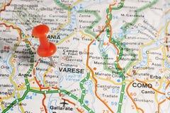 Varese fijó en un mapa de Italia Imágenes de archivo libres de regalías