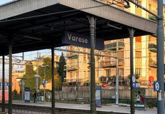 Varese North train Station in the city center, it is one of the three railway stations of the Italian city of Varese. stock images