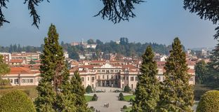 Varese OCT 2018 ITALY - Peoples hand in hand looking View of Gardens of Estense Palace (Palazzo Estense) royalty free stock photo