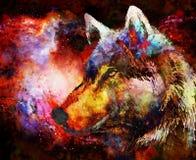 Vargstående, väldig cosmical varg i kosmiskt utrymme stock illustrationer