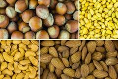Variété d'assortiment d'écrou de casse-croûte nutritif délicieux Protéines nutritives de déjeuner d'anarcadier de cèdre de noiset image libre de droits